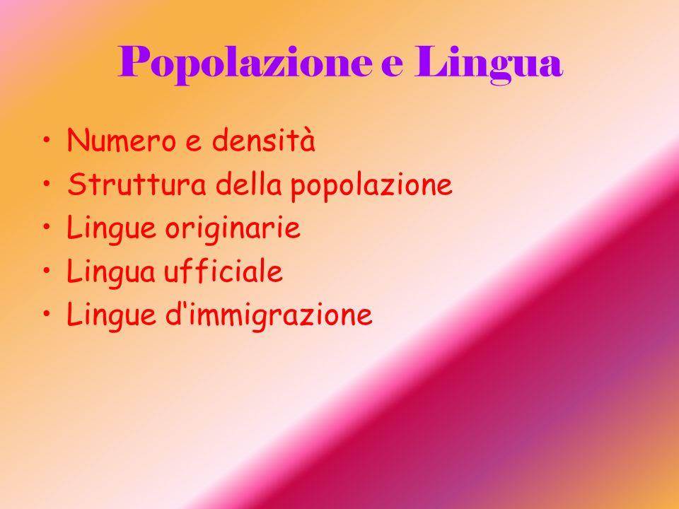 Popolazione e Lingua Numero e densità Struttura della popolazione Lingue originarie Lingua ufficiale Lingue dimmigrazione