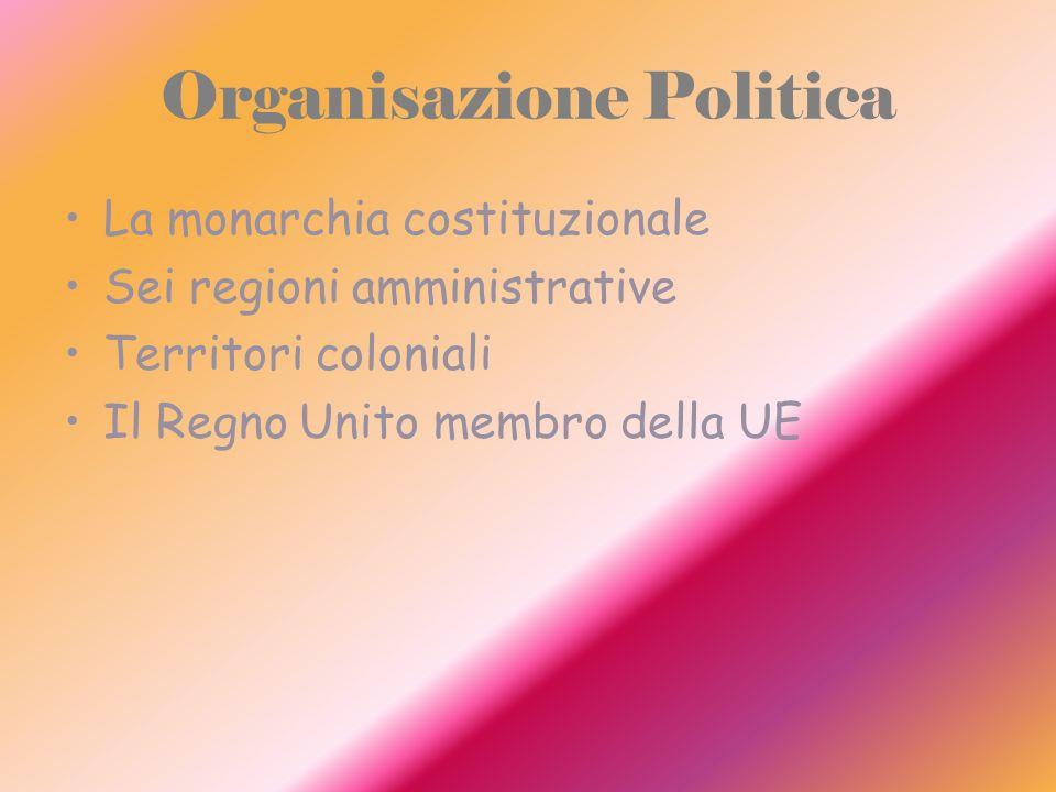 Organisazione Politica La monarchia costituzionale Sei regioni amministrative Territori coloniali Il Regno Unito membro della UE