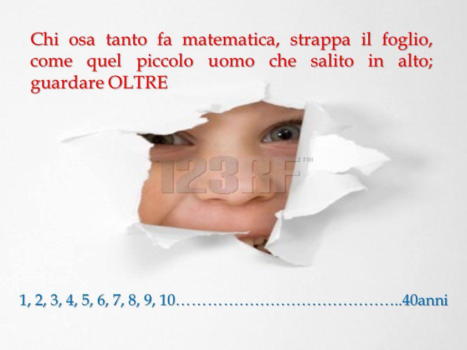 Chi osa tanto fa matematica, strappa il foglio, come quel piccolo uomo che salito in alto; guardare OLTRE 1, 2, 3, 4, 5, 6, 7, 8, 9, 10…………………………………….