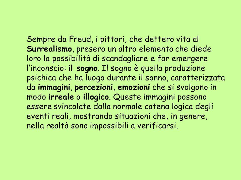 Sempre da Freud, i pittori, che dettero vita al Surrealismo, presero un altro elemento che diede loro la possibilità di scandagliare e far emergere linconscio: il sogno.