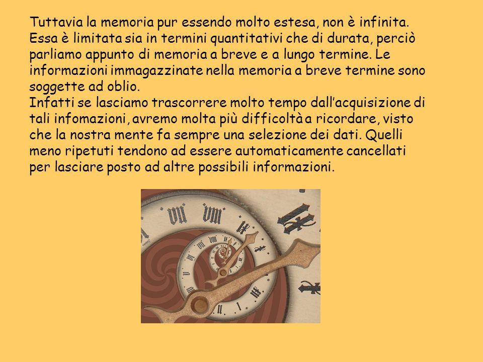 Tuttavia la memoria pur essendo molto estesa, non è infinita. Essa è limitata sia in termini quantitativi che di durata, perciò parliamo appunto di me