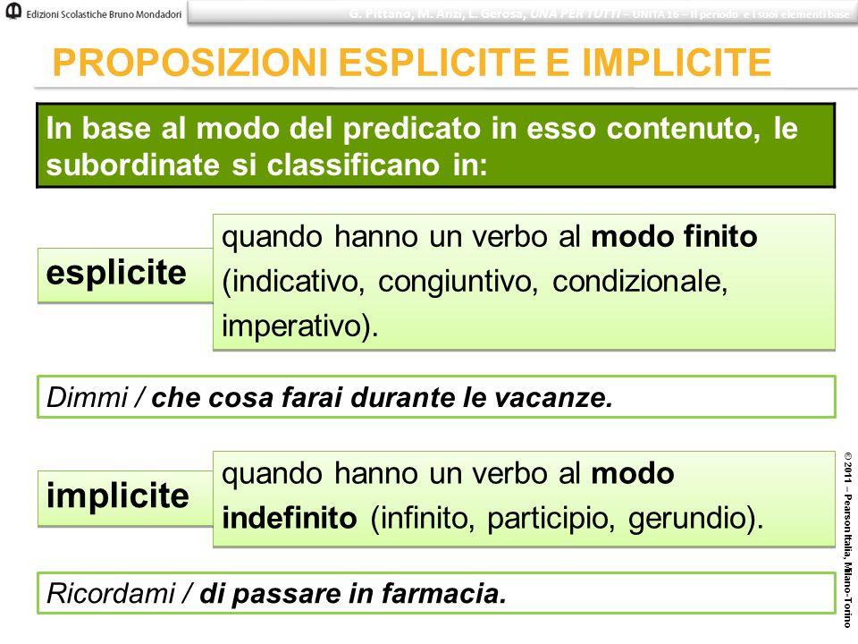 © 2011 – Pearson Italia, Milano-Torino PROPOSIZIONI ESPLICITE E IMPLICITE In base al modo del predicato in esso contenuto, le subordinate si classific