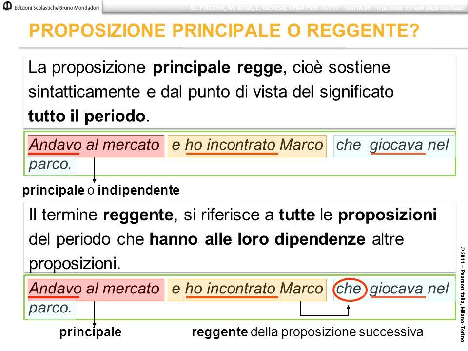 PROPOSIZIONE PRINCIPALE O REGGENTE? © 2011 – Pearson Italia, Milano-Torino G. Pittano, M. Anzi, L. Gerosa, UNA PER TUTTI – UNITÀ 16 – Il periodo e i s