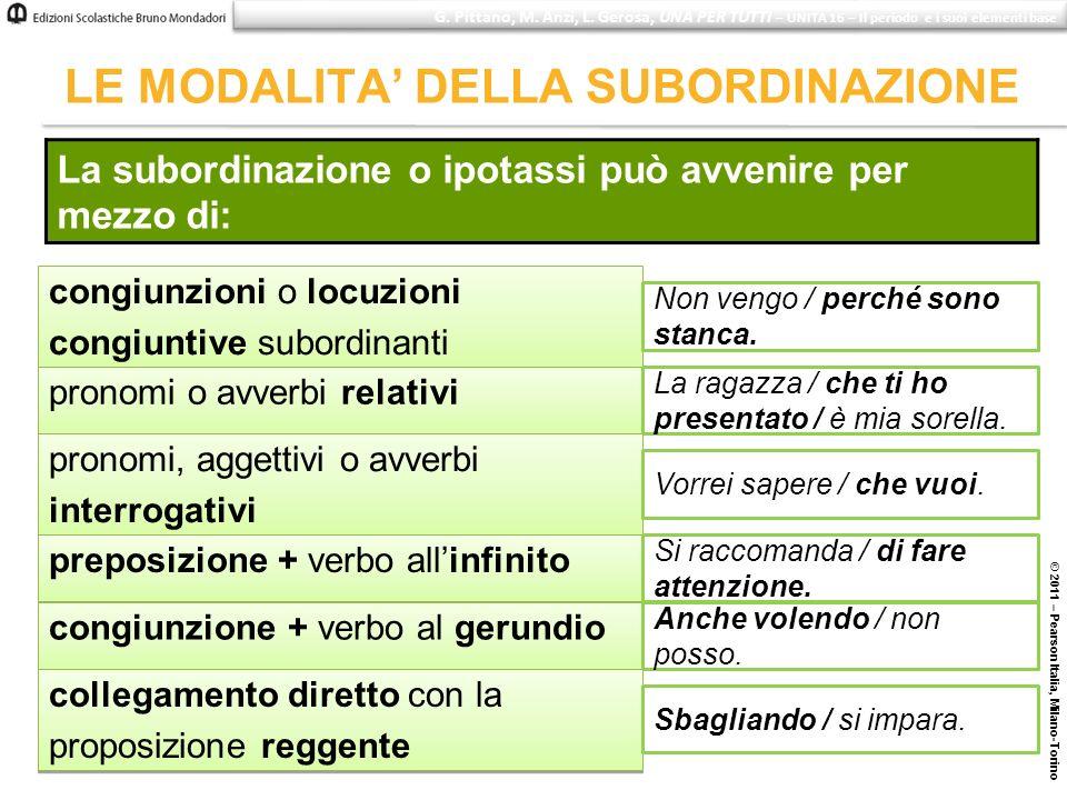 © 2011 – Pearson Italia, Milano-Torino LE MODALITA DELLA SUBORDINAZIONE La subordinazione o ipotassi può avvenire per mezzo di: congiunzioni o locuzio