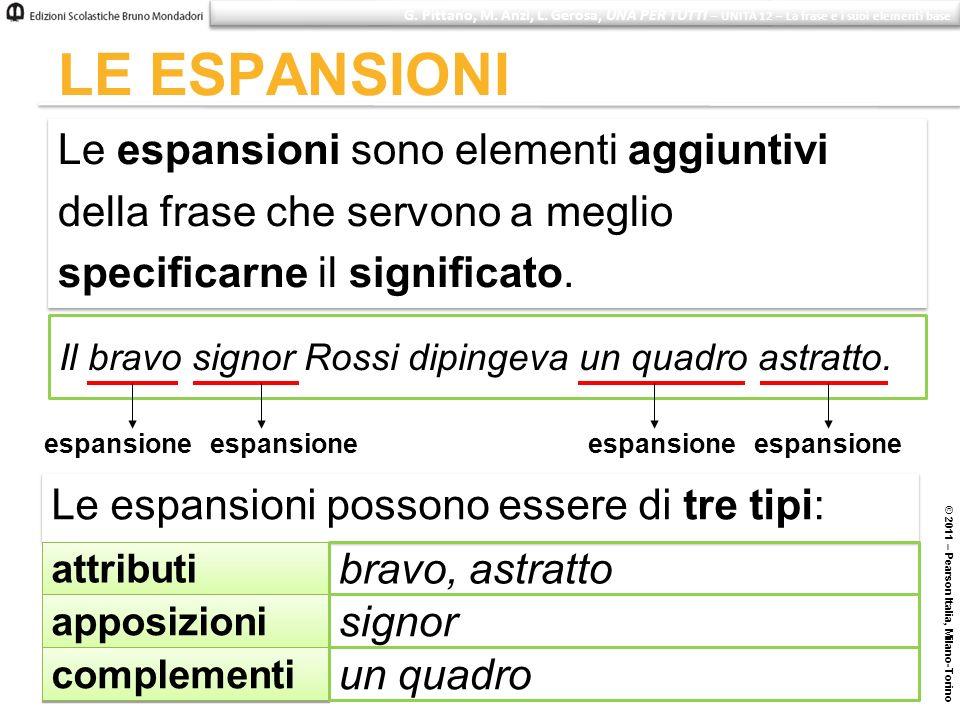 © 2011 – Pearson Italia, Milano-Torino LE ESPANSIONI Le espansioni sono elementi aggiuntivi della frase che servono a meglio specificarne il significa