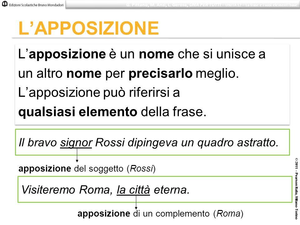 © 2011 – Pearson Italia, Milano-Torino LAPPOSIZIONE Lapposizione è un nome che si unisce a un altro nome per precisarlo meglio. Lapposizione può rifer
