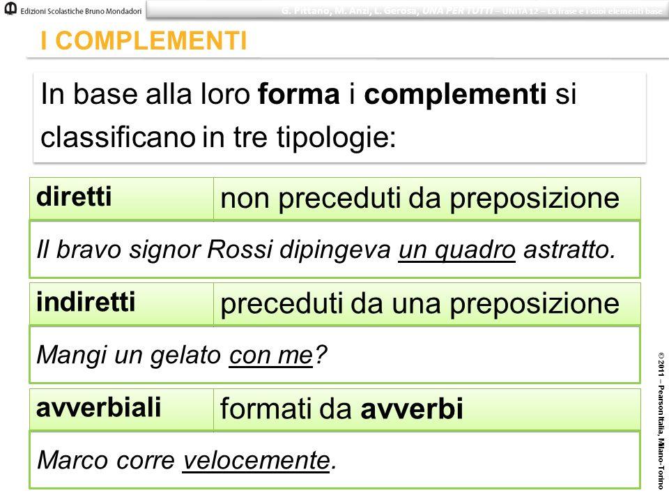 © 2011 – Pearson Italia, Milano-Torino I COMPLEMENTI In base alla loro forma i complementi si classificano in tre tipologie: In base alla loro forma i