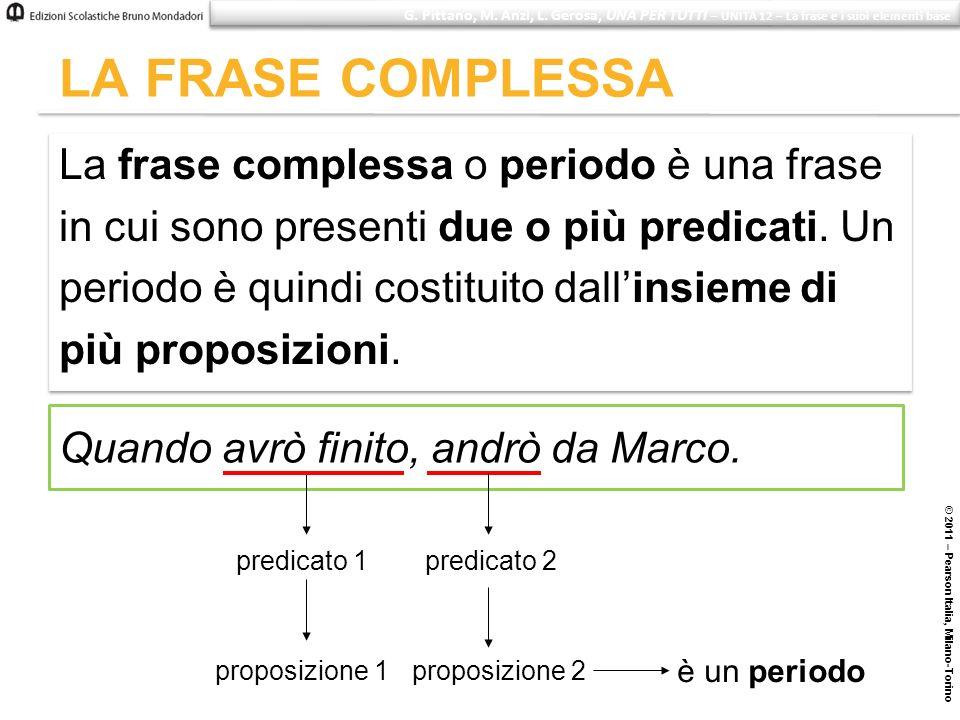 LA FRASE COMPLESSA © 2011 – Pearson Italia, Milano-Torino Quando avrò finito, andrò da Marco. predicato 1 proposizione 1 predicato 2 proposizione 2 è