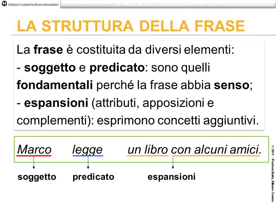 © 2011 – Pearson Italia, Milano-Torino LA STRUTTURA DELLA FRASE La frase è costituita da diversi elementi: - soggetto e predicato: sono quelli fondame