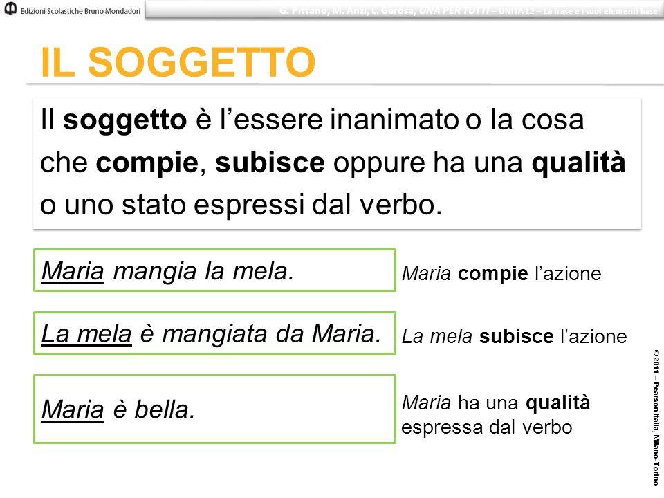 © 2011 – Pearson Italia, Milano-Torino IL SOGGETTO Il soggetto è lessere inanimato o la cosa che compie, subisce oppure ha una qualità o uno stato esp