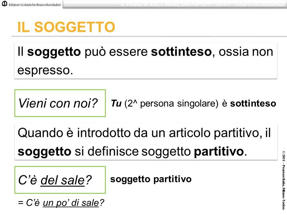 © 2011 – Pearson Italia, Milano-Torino IL SOGGETTO Il soggetto può essere sottinteso, ossia non espresso. Il soggetto può essere sottinteso, ossia non