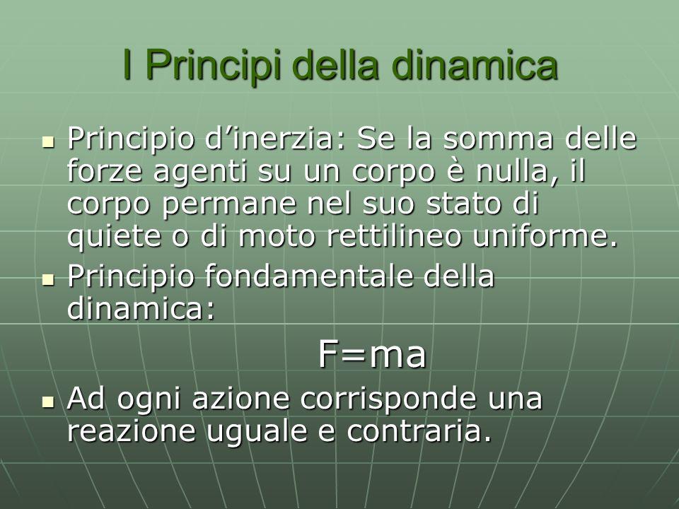 I Principi della dinamica Principio dinerzia: Se la somma delle forze agenti su un corpo è nulla, il corpo permane nel suo stato di quiete o di moto rettilineo uniforme.