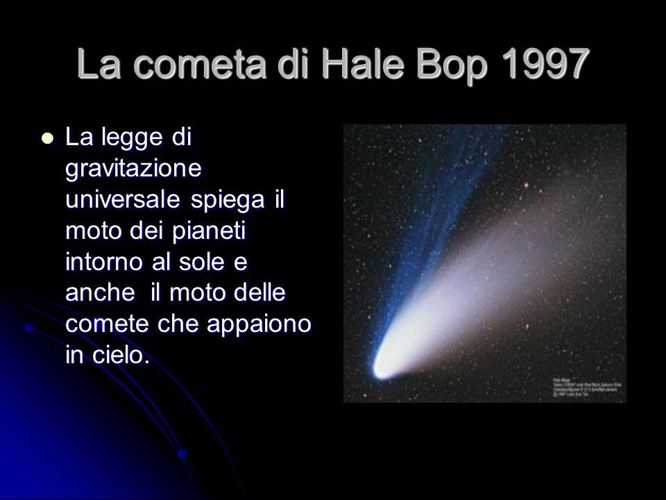 La cometa di Hale Bop 1997 La legge di gravitazione universale spiega il moto dei pianeti intorno al sole e anche il moto delle comete che appaiono in