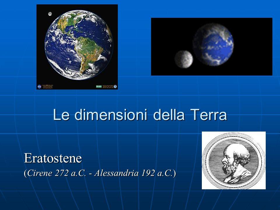 Le dimensioni della Terra Eratostene (Cirene 272 a.C. - Alessandria 192 a.C.)
