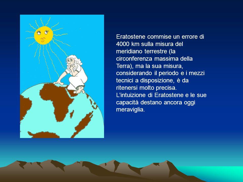Eratostene commise un errore di 4000 km sulla misura del meridiano terrestre (la circonferenza massima della Terra), ma la sua misura, considerando il