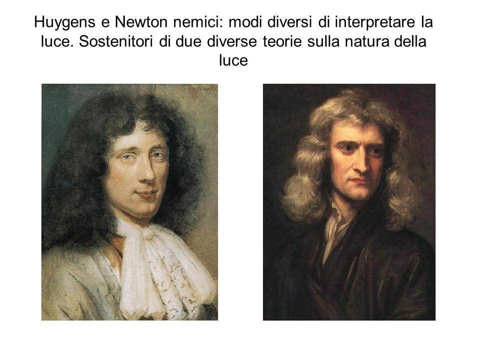 Huygens e Newton nemici: modi diversi di interpretare la luce. Sostenitori di due diverse teorie sulla natura della luce