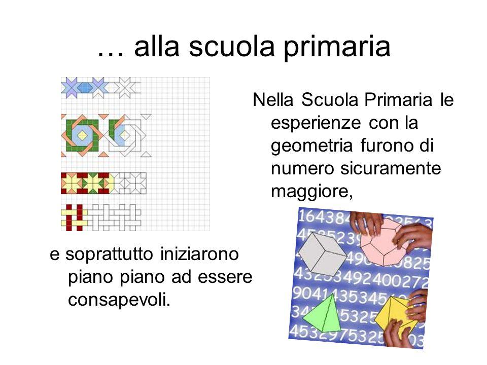 … alla scuola primaria Nella Scuola Primaria le esperienze con la geometria furono di numero sicuramente maggiore, e soprattutto iniziarono piano pian