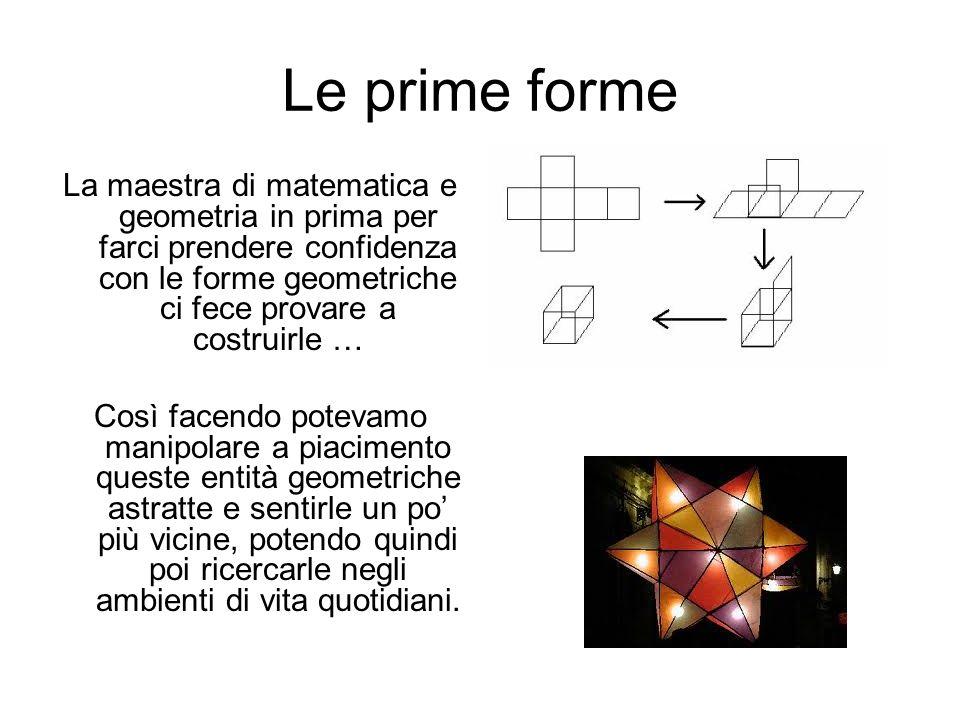 Le prime forme La maestra di matematica e geometria in prima per farci prendere confidenza con le forme geometriche ci fece provare a costruirle … Cos