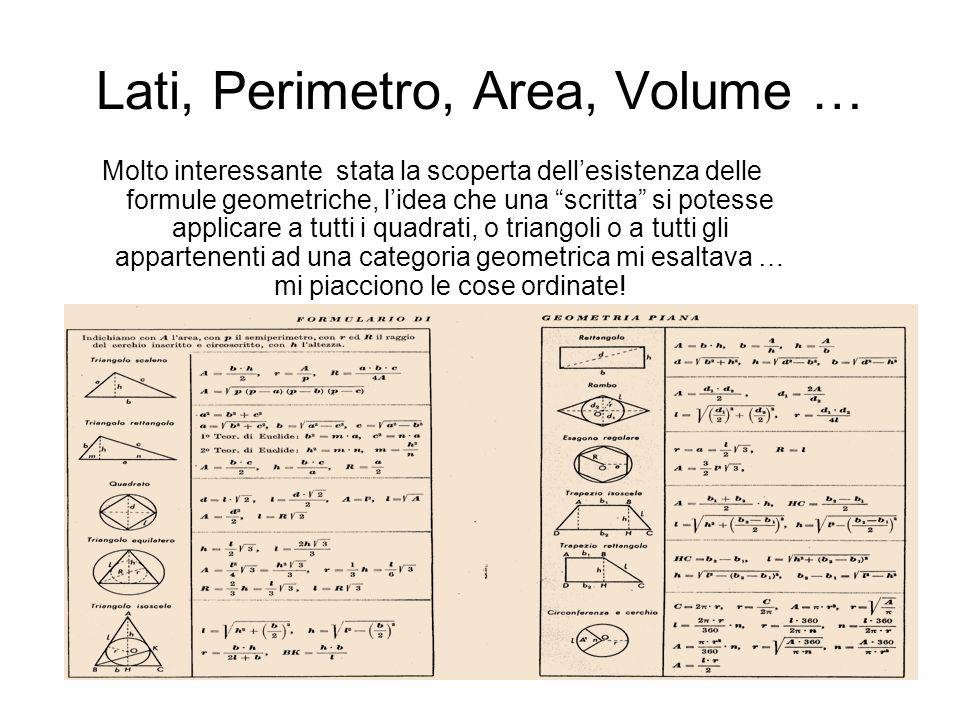 Lati, Perimetro, Area, Volume … Molto interessante stata la scoperta dellesistenza delle formule geometriche, lidea che una scritta si potesse applica