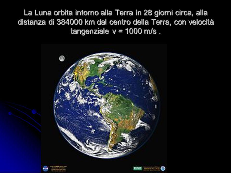 La Luna orbita intorno alla Terra in 28 giorni circa, alla distanza di 384000 km dal centro della Terra, con velocità tangenziale v = 1000 m/s.