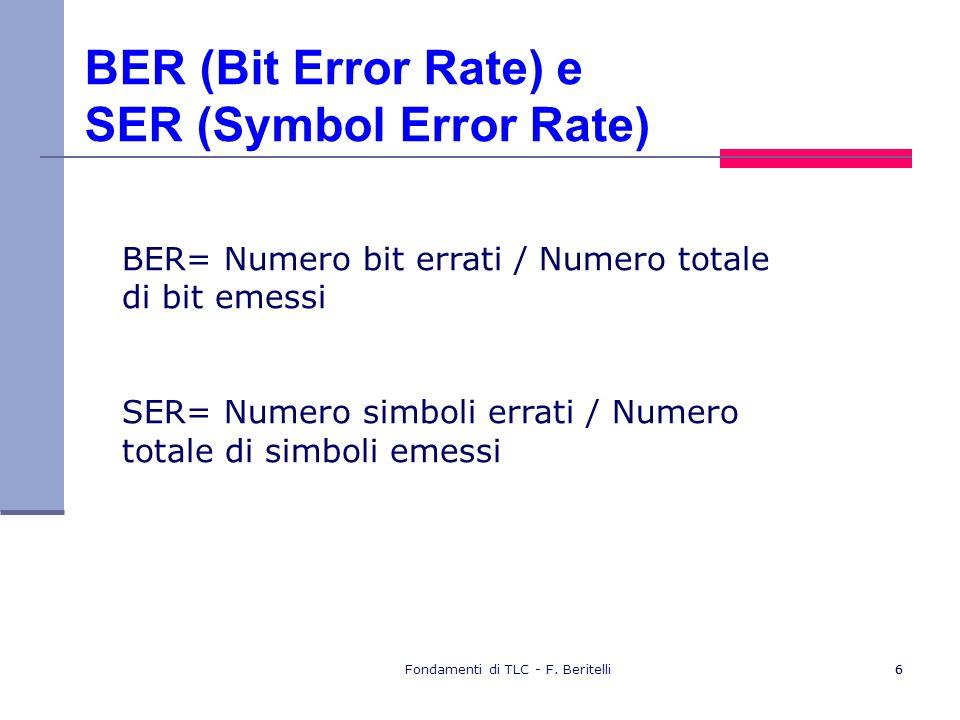 Fondamenti di TLC - F. Beritelli66 BER (Bit Error Rate) e SER (Symbol Error Rate) BER= Numero bit errati / Numero totale di bit emessi SER= Numero sim