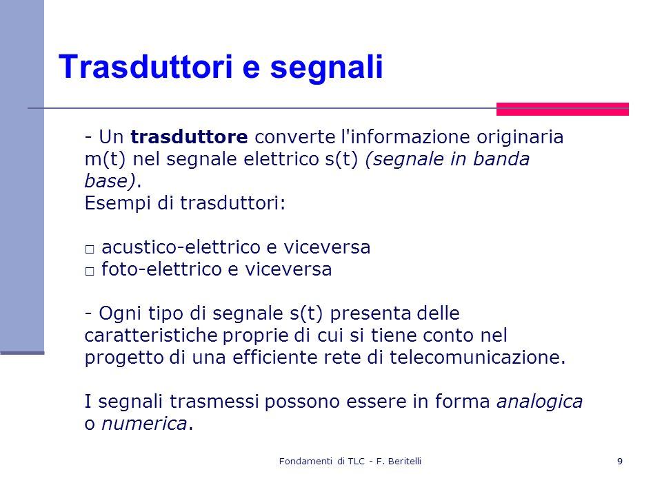 Fondamenti di TLC - F. Beritelli99 Trasduttori e segnali - Un trasduttore converte l'informazione originaria m(t) nel segnale elettrico s(t) (segnale