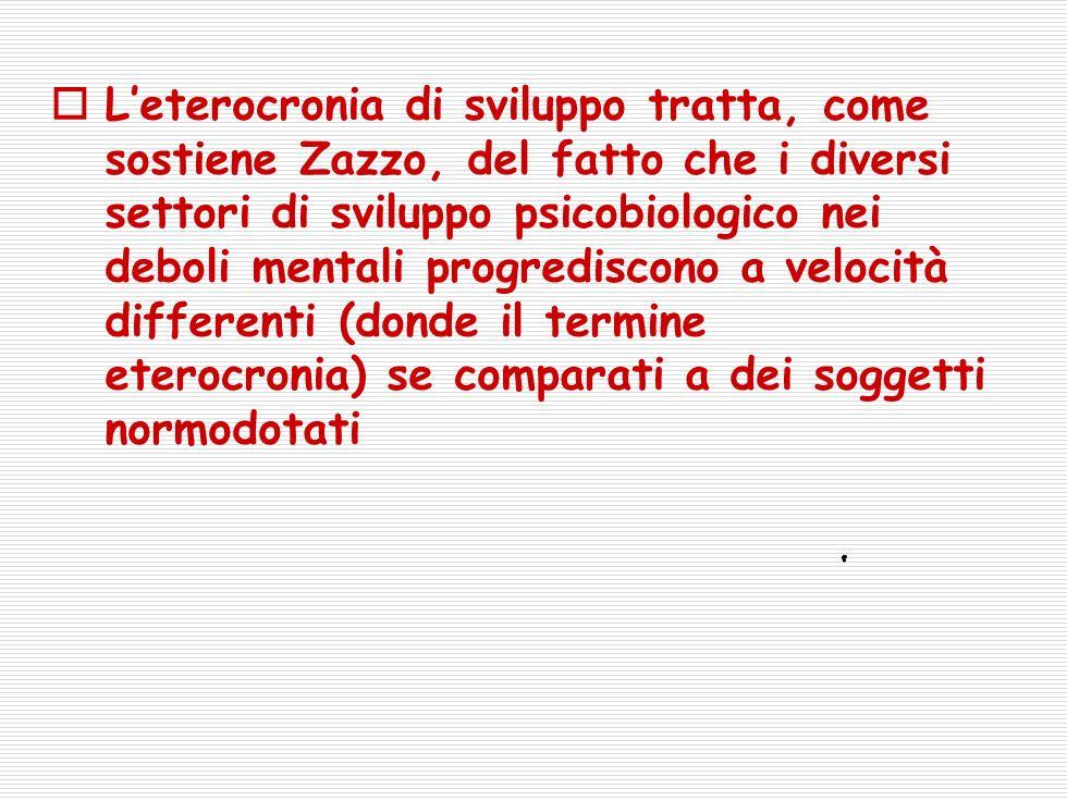 Leterocronia di sviluppo tratta, come sostiene Zazzo, del fatto che i diversi settori di sviluppo psicobiologico nei deboli mentali progrediscono a velocità differenti (donde il termine eterocronia) se comparati a dei soggetti normodotati