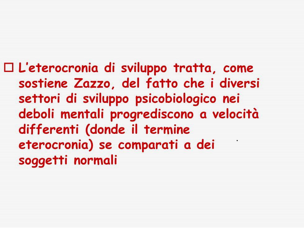 Leterocronia di sviluppo tratta, come sostiene Zazzo, del fatto che i diversi settori di sviluppo psicobiologico nei deboli mentali progrediscono a velocità differenti (donde il termine eterocronia) se comparati a dei soggetti normali