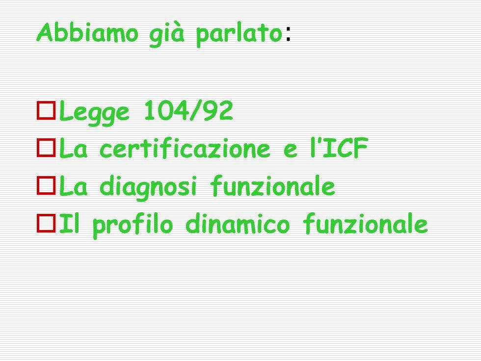 Abbiamo già parlato : Legge 104/92 La certificazione e lICF La diagnosi funzionale Il profilo dinamico funzionale
