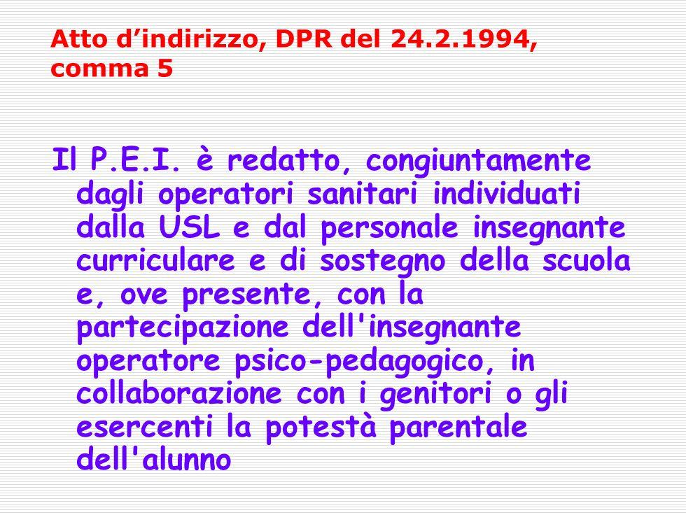 Atto dindirizzo, DPR del 24.2.1994, comma 5 Il P.E.I.