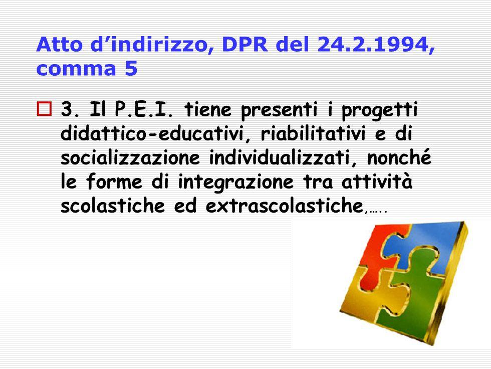 Atto dindirizzo, DPR del 24.2.1994, comma 5 3.Il P.E.I.