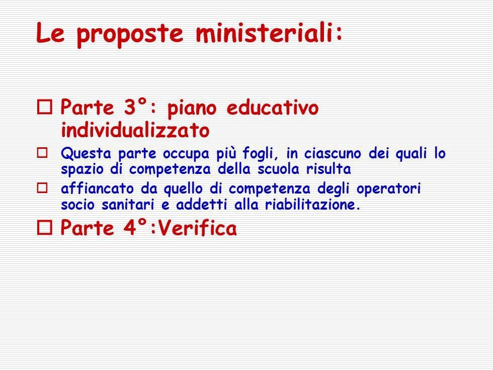 Le proposte ministeriali: Parte 3°: piano educativo individualizzato Questa parte occupa più fogli, in ciascuno dei quali lo spazio di competenza della scuola risulta affiancato da quello di competenza degli operatori socio sanitari e addetti alla riabilitazione.