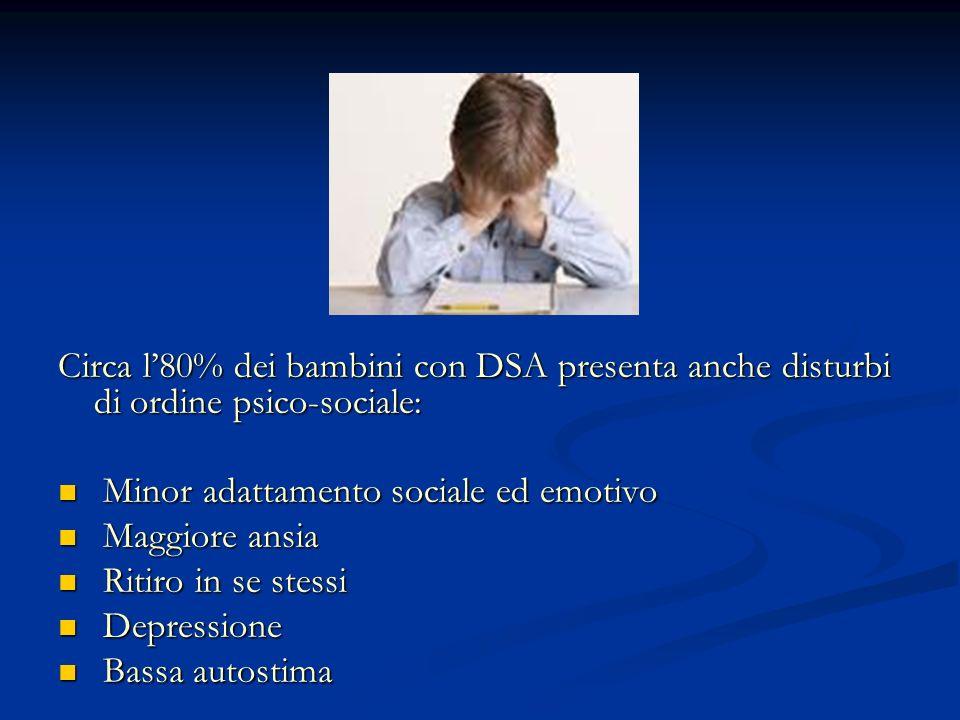Circa l80% dei bambini con DSA presenta anche disturbi di ordine psico-sociale: Minor adattamento sociale ed emotivo Minor adattamento sociale ed emot
