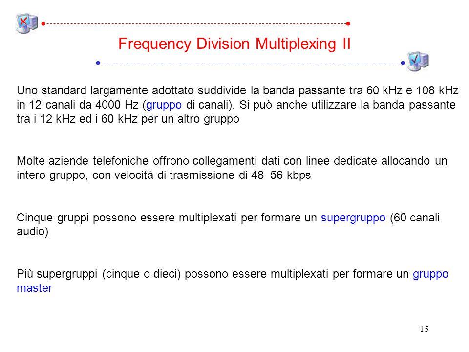 15 Uno standard largamente adottato suddivide la banda passante tra 60 kHz e 108 kHz in 12 canali da 4000 Hz (gruppo di canali).