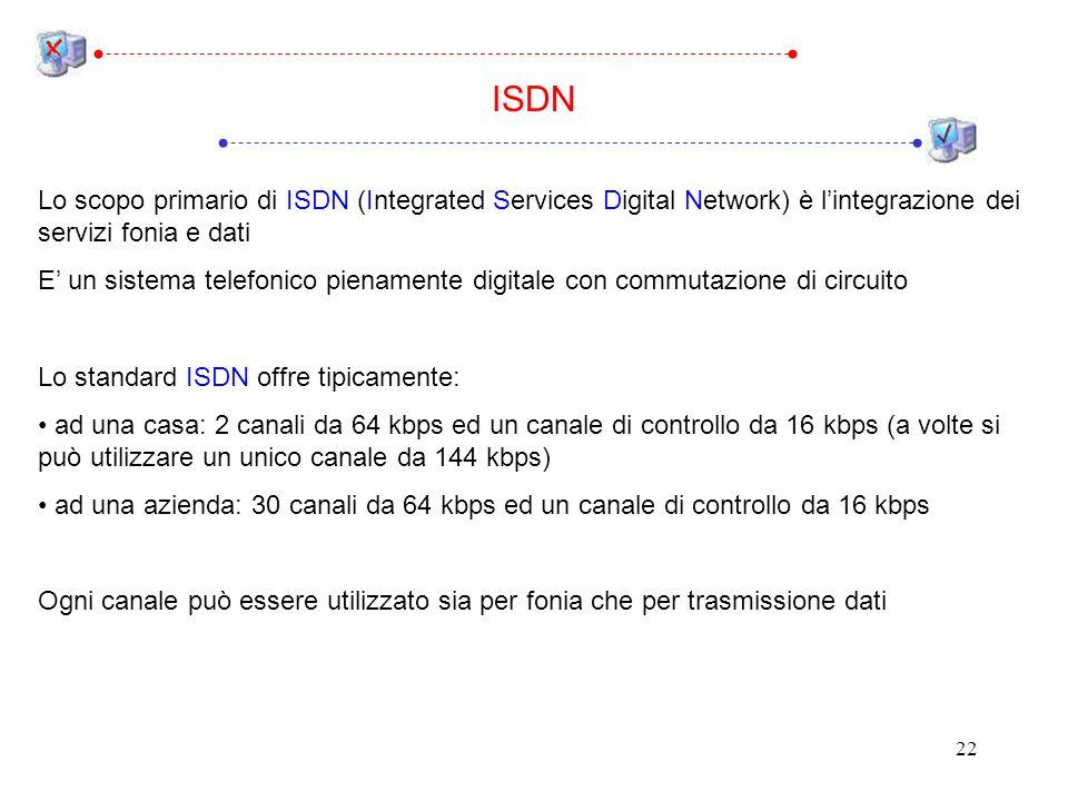 22 Lo scopo primario di ISDN (Integrated Services Digital Network) è lintegrazione dei servizi fonia e dati E un sistema telefonico pienamente digitale con commutazione di circuito Lo standard ISDN offre tipicamente: ad una casa: 2 canali da 64 kbps ed un canale di controllo da 16 kbps (a volte si può utilizzare un unico canale da 144 kbps) ad una azienda: 30 canali da 64 kbps ed un canale di controllo da 16 kbps Ogni canale può essere utilizzato sia per fonia che per trasmissione dati ISDN