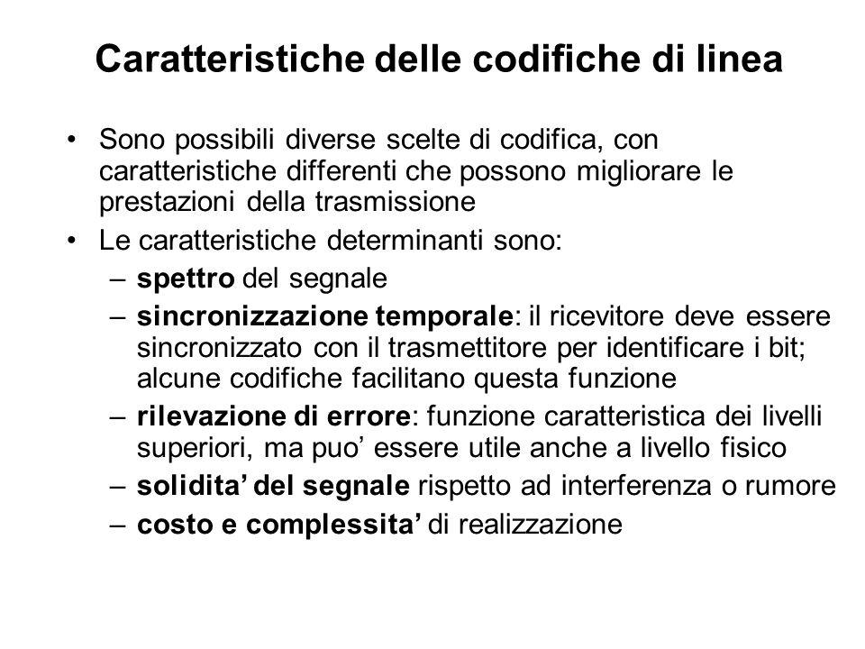 Caratteristiche delle codifiche di linea Sono possibili diverse scelte di codifica, con caratteristiche differenti che possono migliorare le prestazio