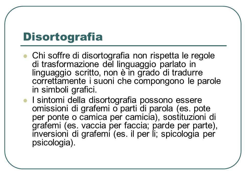Disortografia Chi soffre di disortografia non rispetta le regole di trasformazione del linguaggio parlato in linguaggio scritto, non è in grado di tradurre correttamente i suoni che compongono le parole in simboli grafici.
