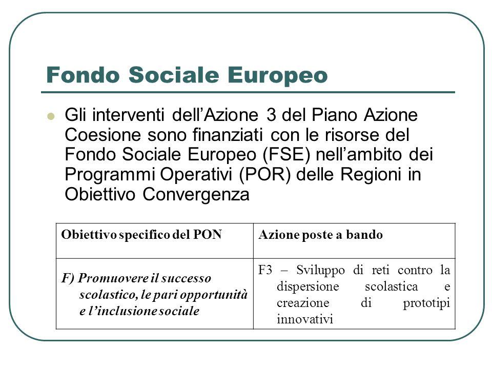 Fondo Sociale Europeo Gli interventi dellAzione 3 del Piano Azione Coesione sono finanziati con le risorse del Fondo Sociale Europeo (FSE) nellambito dei Programmi Operativi (POR) delle Regioni in Obiettivo Convergenza Obiettivo specifico del PONAzione poste a bando F) Promuovere il successo scolastico, le pari opportunità e linclusione sociale F3 – Sviluppo di reti contro la dispersione scolastica e creazione di prototipi innovativi