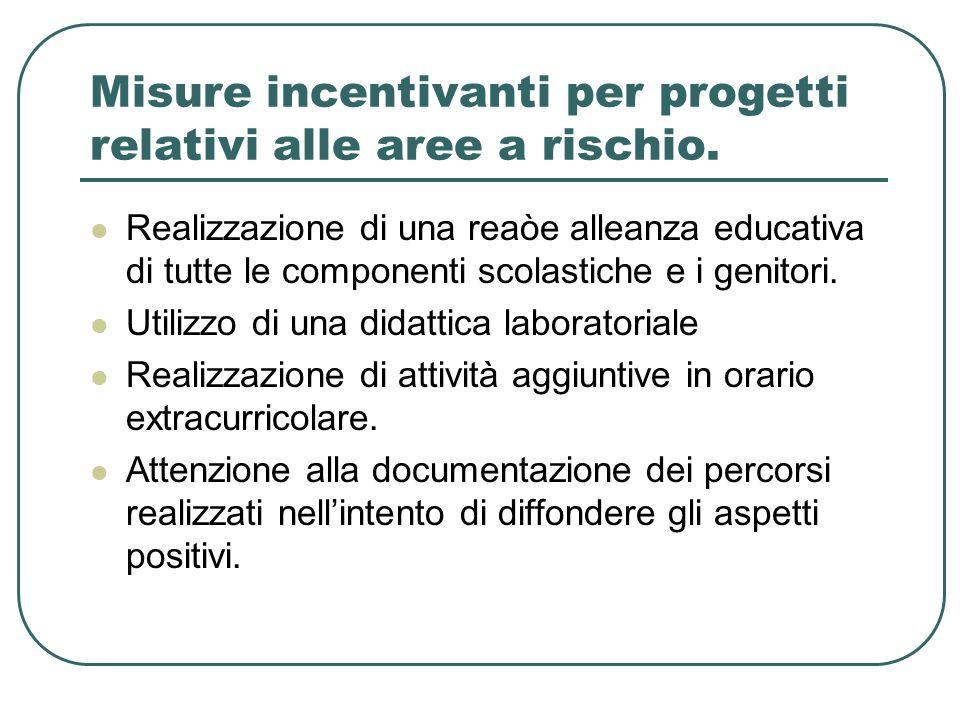 Misure incentivanti per progetti relativi alle aree a rischio.