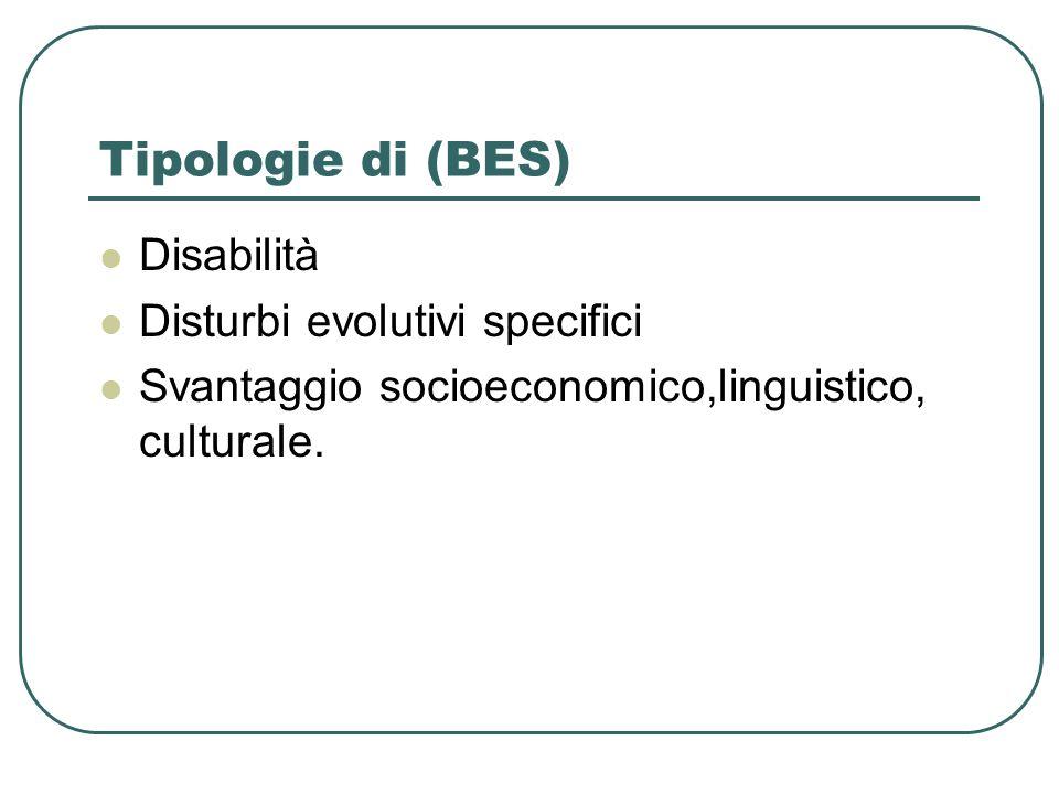 Tipologie di (BES) Disabilità Disturbi evolutivi specifici Svantaggio socioeconomico,linguistico, culturale.