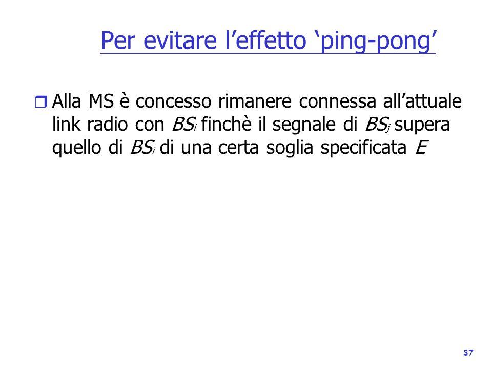 37 Per evitare leffetto ping-pong r Alla MS è concesso rimanere connessa allattuale link radio con BS i finchè il segnale di BS j supera quello di BS