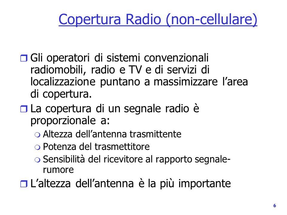 6 Copertura Radio (non-cellulare) r Gli operatori di sistemi convenzionali radiomobili, radio e TV e di servizi di localizzazione puntano a massimizza