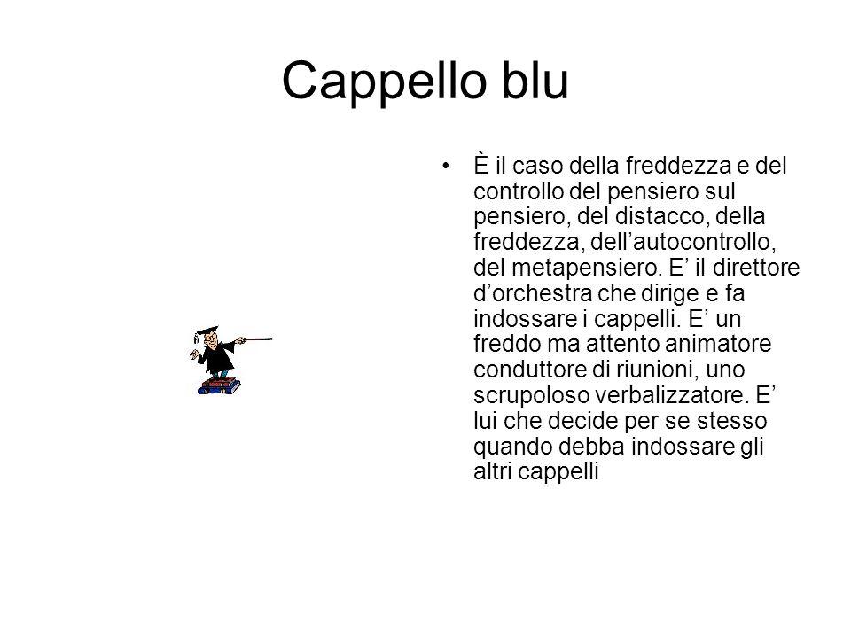 Cappello blu È il caso della freddezza e del controllo del pensiero sul pensiero, del distacco, della freddezza, dellautocontrollo, del metapensiero.