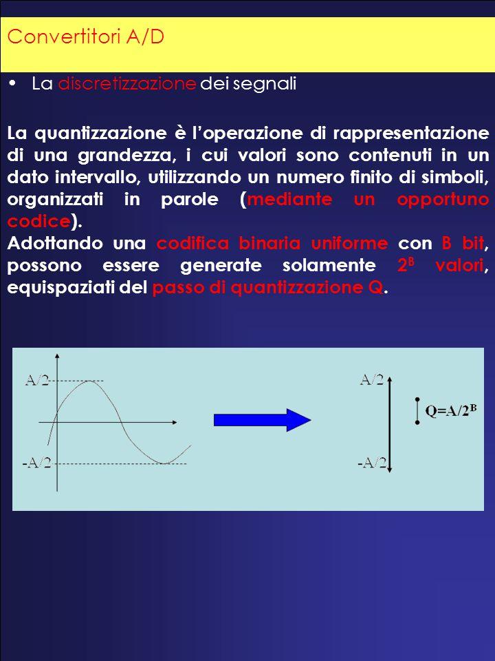 La discretizzazione dei segnali La quantizzazione è loperazione di rappresentazione di una grandezza, i cui valori sono contenuti in un dato intervallo, utilizzando un numero finito di simboli, organizzati in parole (mediante un opportuno codice).