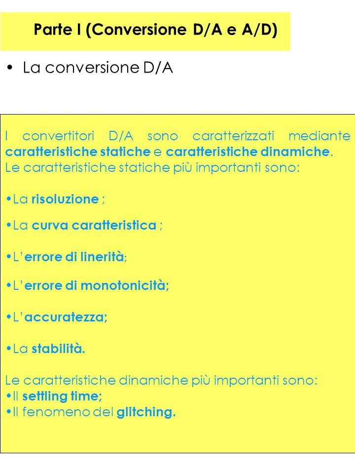 Parte I (Conversione D/A e A/D) La conversione D/A I convertitori D/A sono caratterizzati mediante caratteristiche statiche e caratteristiche dinamiche.