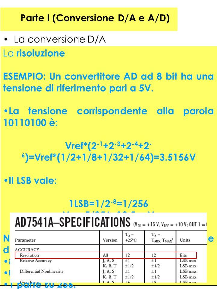 24 Parte I (Conversione D/A e A/D) La conversione D/A La risoluzione ESEMPIO: Un convertitore AD ad 8 bit ha una tensione di riferimento pari a 5V. La