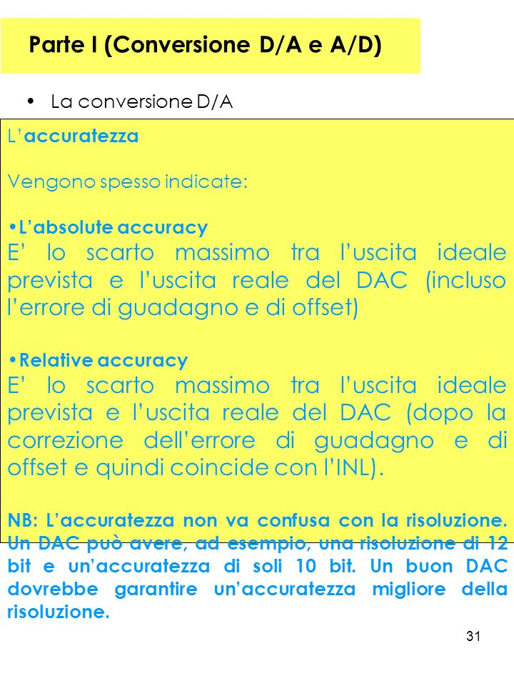 31 Parte I (Conversione D/A e A/D) La conversione D/A L accuratezza Vengono spesso indicate: Labsolute accuracy E lo scarto massimo tra luscita ideale prevista e luscita reale del DAC (incluso lerrore di guadagno e di offset) Relative accuracy E lo scarto massimo tra luscita ideale prevista e luscita reale del DAC (dopo la correzione dellerrore di guadagno e di offset e quindi coincide con lINL).