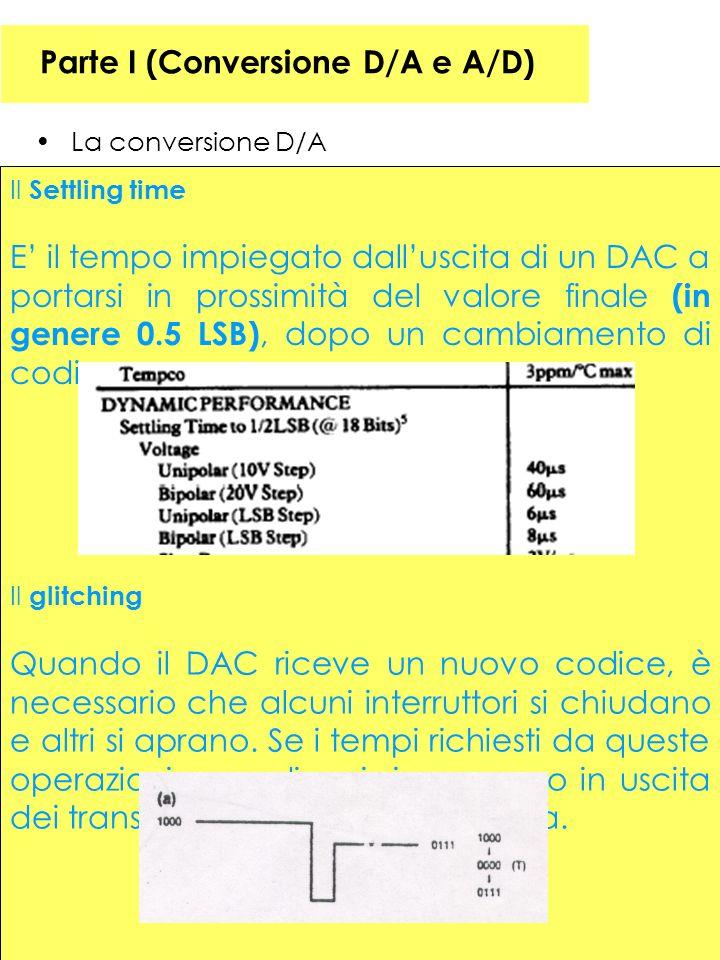 33 Parte I (Conversione D/A e A/D) La conversione D/A Il Settling time E il tempo impiegato dalluscita di un DAC a portarsi in prossimità del valore finale (in genere 0.5 LSB), dopo un cambiamento di codice.