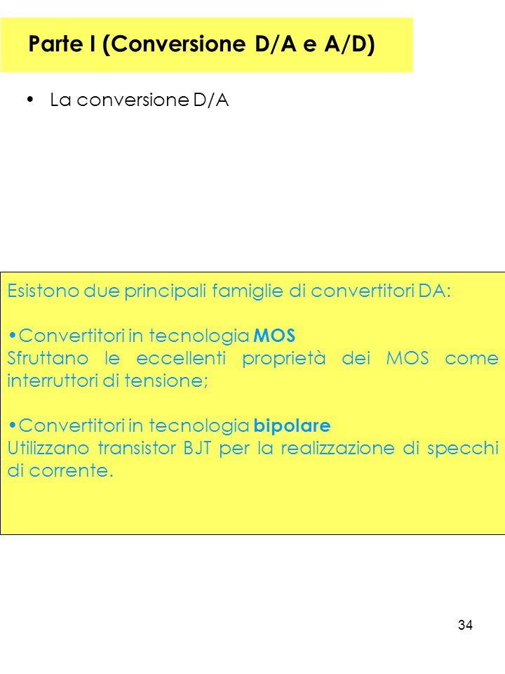 34 Parte I (Conversione D/A e A/D) La conversione D/A Esistono due principali famiglie di convertitori DA: Convertitori in tecnologia MOS Sfruttano le