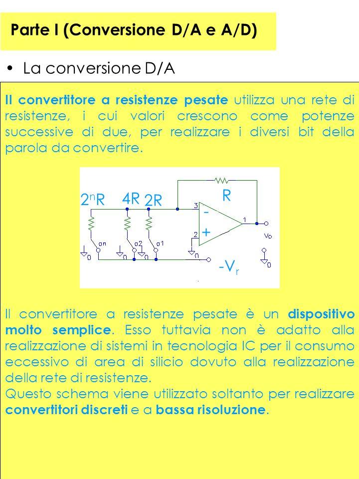 Parte I (Conversione D/A e A/D) La conversione D/A Il convertitore a resistenze pesate utilizza una rete di resistenze, i cui valori crescono come potenze successive di due, per realizzare i diversi bit della parola da convertire.